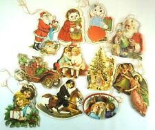11 Vintage Carboard Christmas Tree Decoractions Ornaments Double Sided Image