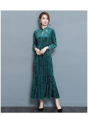 Emerald green velvet floral print flare dress qipao manadarin collar Chinese