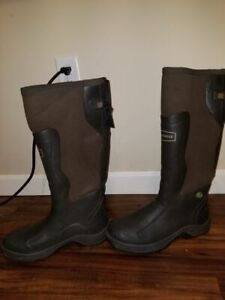 """Lacrosse Alpha Mudlite 18"""" Brown rubber boots size 10 used snow hunting fishing"""