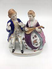 MARUYAMA OCCUPIED JAPAN FIGURINE Couple Singing, Playing Lute. Meissen Type.