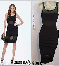 NWT BEBE GIGI RIBBED DRESS SIZE XS Ribbed bodycon dress with mesh paneling