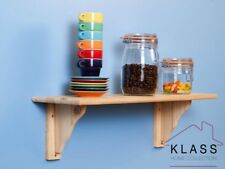 Floating Natural Wood Wooden Pine Shelf Kit  585 x 190 x 16mm - Core Solid Pine