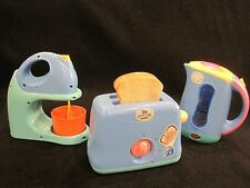 just like me appliances toaster, coffee pot, and mixet  cute with defects