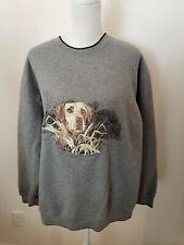Croft & Barrow MEDIUM Embroidered Labrador Gray Sweatshirt