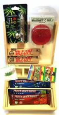 Smokers Wood Stash Rolling Box Baggies Leaf Weed Metal Pipe RAW King Size Papers