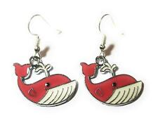 Whale Enamel Drop Earrings with Silver Plated Ear Wires in Gift Box