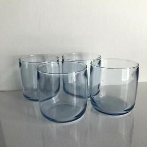 Set of 4 Light Blue Hand Made Vintage Rock Glasses Swedish Modern