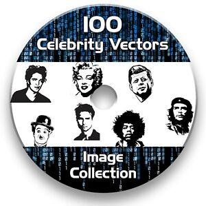 100 CELEBRITY VECTOR IMAGE COLLECTION EPS CLIPART VINYL PLOTTER CD