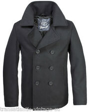 BRANDIT CLASSIC VINTAGE NAVY PEA COAT MENS ARMY REEFER WOOL MARINE JACKET BLACK