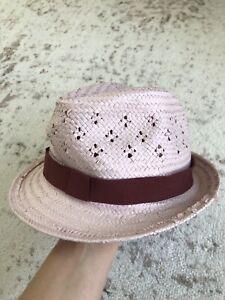 New pink crewcuts girls straw Fedora beach hat L/XL
