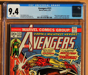 AVENGERS #121, CGC 9.4, NM, White Pages, Marvel Comics, 1974