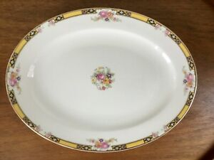 """Vtg Oval Serving Platter ~ Yellow Rim Pink Roses ~ 13 1/2""""~ Edwin Knowles"""