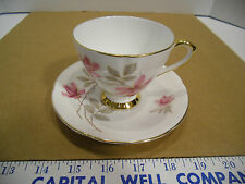 Vintage Taylor & Kent Bone China Floral Footed Tea Cup and Saucer Set - EUC