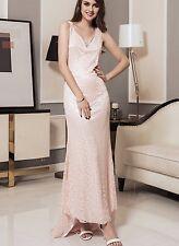 Formal Lace Pink Long Sleeveless Dress XL New
