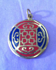 Om Mani Padne Hum Brass Lapis Mandala Sacred Geometry pendant Buddhist Tibetan
