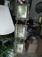 Vintage Florentia Triple Silk Picture Onate Brass Chained Wall Hanging - 18 in.