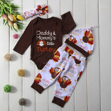 NWT Thanksgiving 'Daddys Mommys little Turkey' Baby Boys Girls Outfit Set