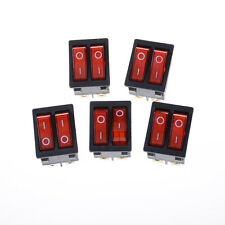 Double Boat Rocker Switch 6 Pin On-Off With Red Light 16A 125VAC 、HC