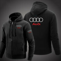 Audi Solid Zip Up Hoodie Classic Winter Hooded Sweatshirt Jacket Coat Top Tops