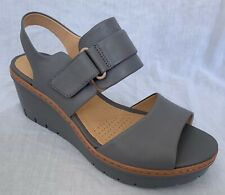 BNIB Clarks Ladies Palm Stellar Grey Leather Wedged Sandals