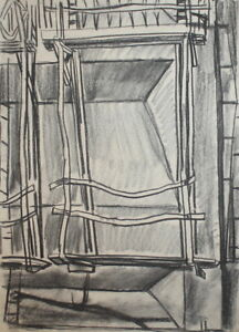 VINTAGE PENCIL DRAWING ARCHITECTURAL DESIGN SIGNED
