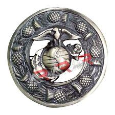"AAR Kilt Fly Plaid Brooch Thistle Design with US Marine Badge Antique Finish 3"""