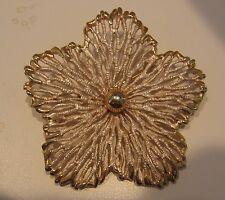 Vintage Signed Pastelli Frosted Enamel Goldtone Flower Floral Brooch Pin Large