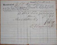 1842 School, Bridge, Road Tax Receipt - Cleveland, Ohio