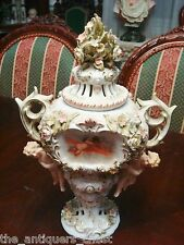 Austrian Covered Urn, putti and flowers, gorgeous decorations, two handles