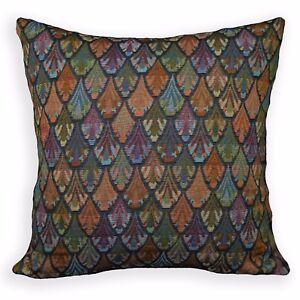 Ng17a Peacock Red Blue Green Black Blue Yellow Linen Cushion Cover/Pillow Case