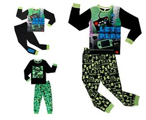 Boys Gaming Pyjamas 7-13 Years Size Long Sleeve Game Over Console PJ's Set Older