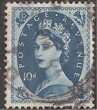 "Great Britain Stamp - Scott #304/A130 10p Royal Blue ""Elizabeth"" Canc/Lh 1954"