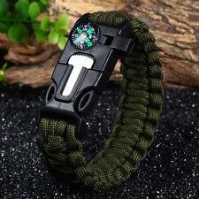 Survival Bracelet Outdoor Paracord Scraper Whistle Flint Fire Starter Compass