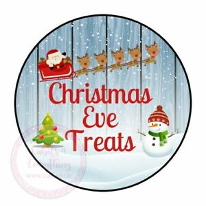 Christmas Eve Treats Xmas Santa Snowman Stickers Labels Party Sweet Cones Gift