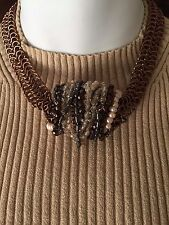 Chico's Copper Magnetic Closure Statement Necklace w/ Pearls/Beads/Chains