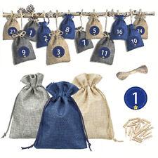 24PCS Advent Calendar Christmas XMAS for Filling Christmas Linen Cloth Bag Decor
