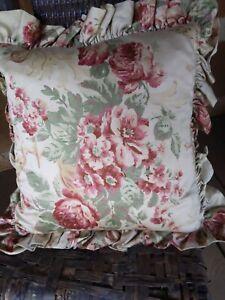 Ralph Lauren Grosvenor Floral Ruffled Throw Pillow NEW Rare