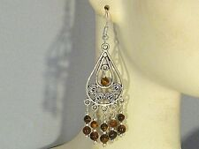 Gemstone Earrings - Tigers Eye w/ .925 Sterling Silver - 2-5/8 inch chandeliers