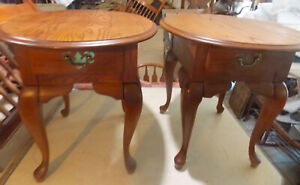 Pair of Solid Oak Oval End Tables / Side Tables  (T22)