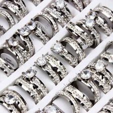 10sets=20pcs Lots Titanium Rhinestone Stainless Steel Woman Men Wedding Ring