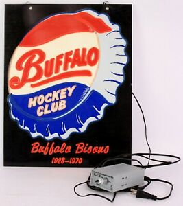 """RARE! 1970's Buffalo Bisons Hockey Club Light Up Sign, 15"""" x 19"""", Working Cond."""