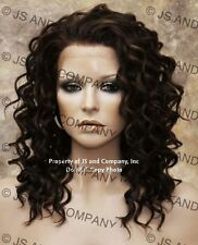 HEAT SAFE Wavy Spiral Curly Lace Front Wig Brown Auburn Mix Ay 4/27/30
