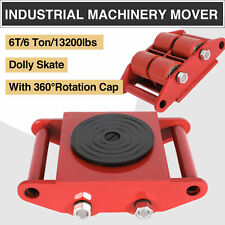 4pcs 6T Machinery Mover Dolly Skate 4 Rollers 13200lbs 6 Ton W/360 Rotation Cap