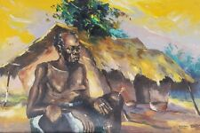 Rare Signed 1970 B. Nzibu Man in Tribal Village African Contemporary Art Congo