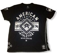 American Fighter Mens Sz 2XL Blk White Short Sleeve Shirt Training Division EUC
