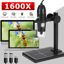 More details for 3 in 1 1600x usb digital microscope endoscope hd 1080p magnifier camera 8 led uk