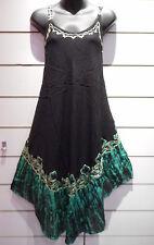 Dress Fits M L XL Sundress Black Batik Art  Tunic A Shape Rayon Sequins NWT 751