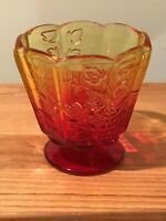Vintage Indiana Glass Co Amberina Compote Footed Bowl, Grapes & Leaves