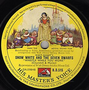 WALT DISNEY SNOW WHITE 78 WHISTLE WHILE YOU WORK/ I'M WISHING-ONE SONG BD515 V+