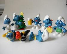 Peyo Schleich Smurfs Lot Christmas Beer Sunbathing Misc (some flawed, please rea
